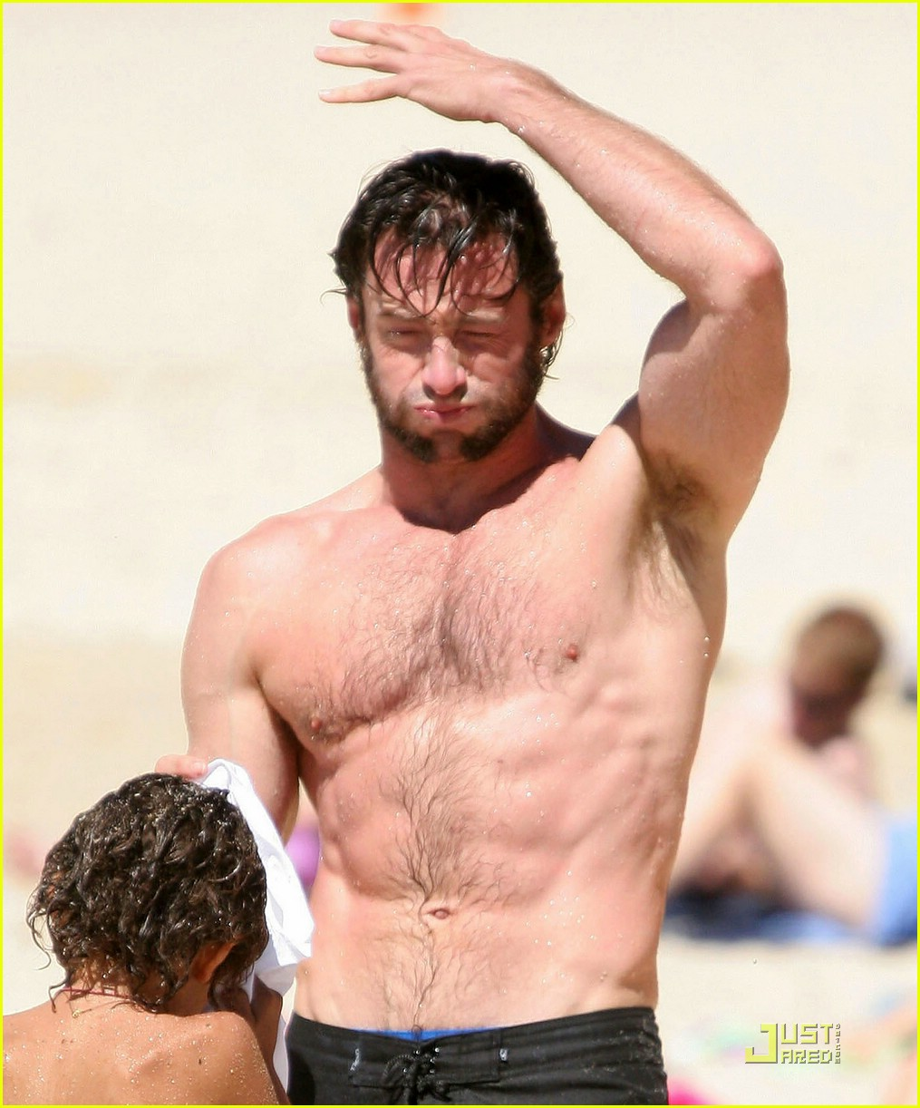 hugh jackman washboard abs 16