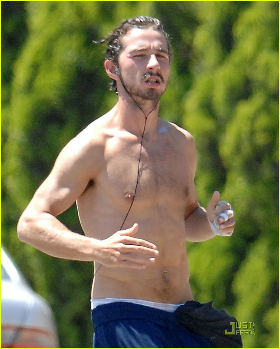 shia labeouf shirtless running 012053541
