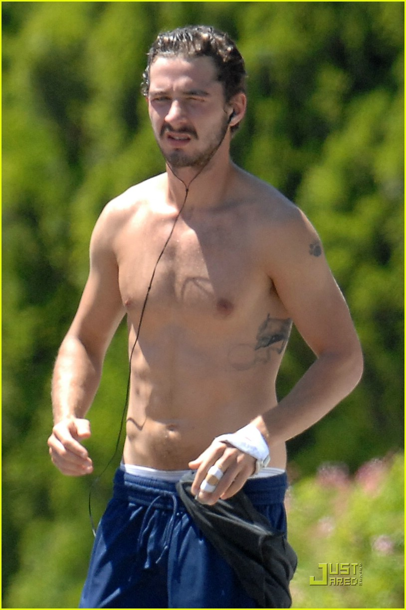 shia labeouf shirtless running 08
