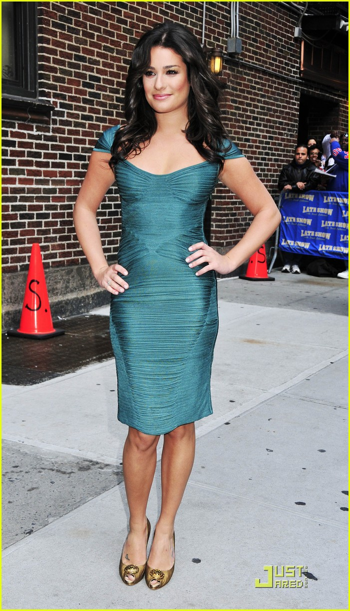 lea michele meets david letterman 012267042