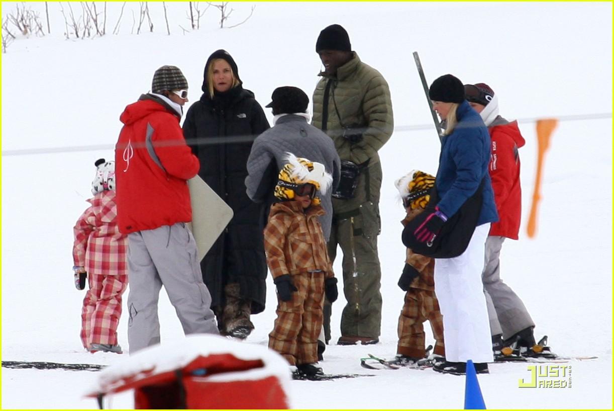 heidi klum seal snowboard lessons 05