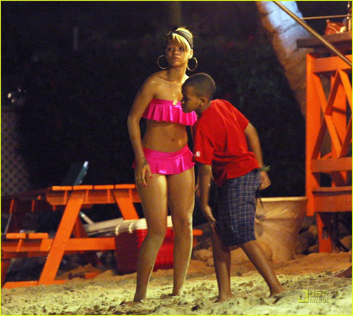 rihanna ruffled pink bikini barbados 102404207