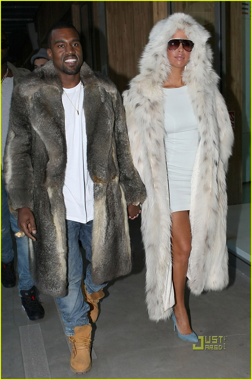 kanye west amber rose fur coats louis vuitton paris fashion week 02