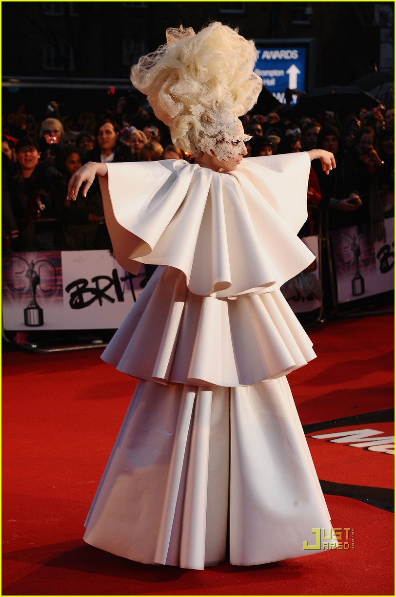 lady gaga brit awards white tier dress 06