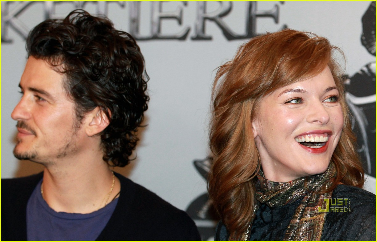 orlando bloom milla jovovich three musketeers filming photocall 04