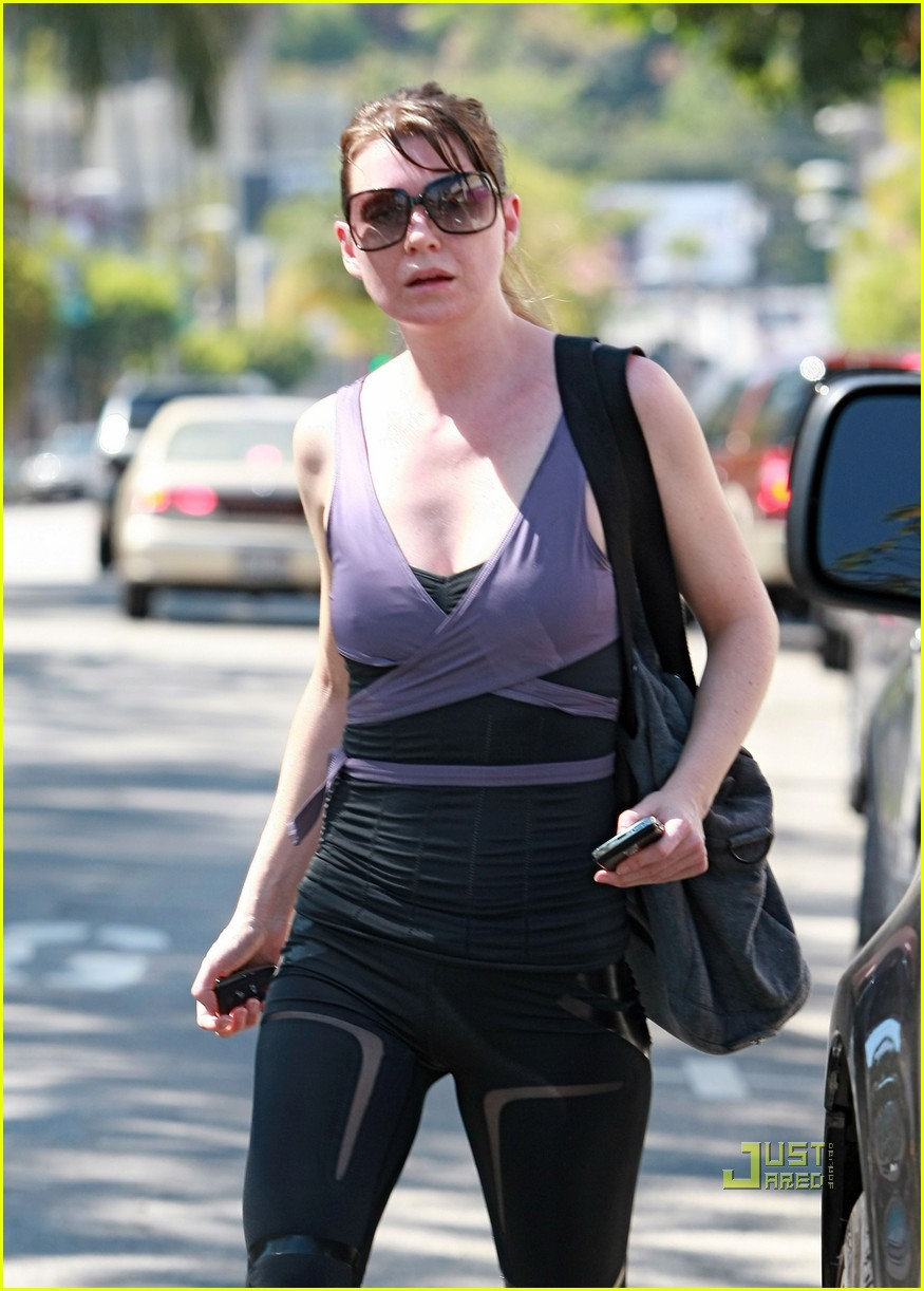 ellen pompeo wrap top gym studio city 01