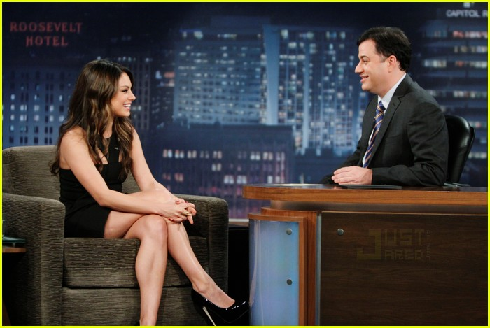 Full Sized Photo Of Mila Kunis Jimmy Kimmel Live Ian Somerhalder  Just Jared