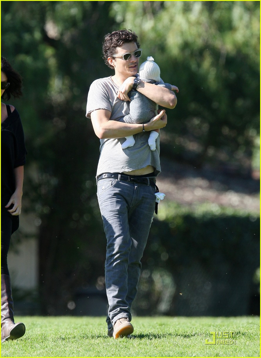 orlando bloom walk in the park with flynn 232513867