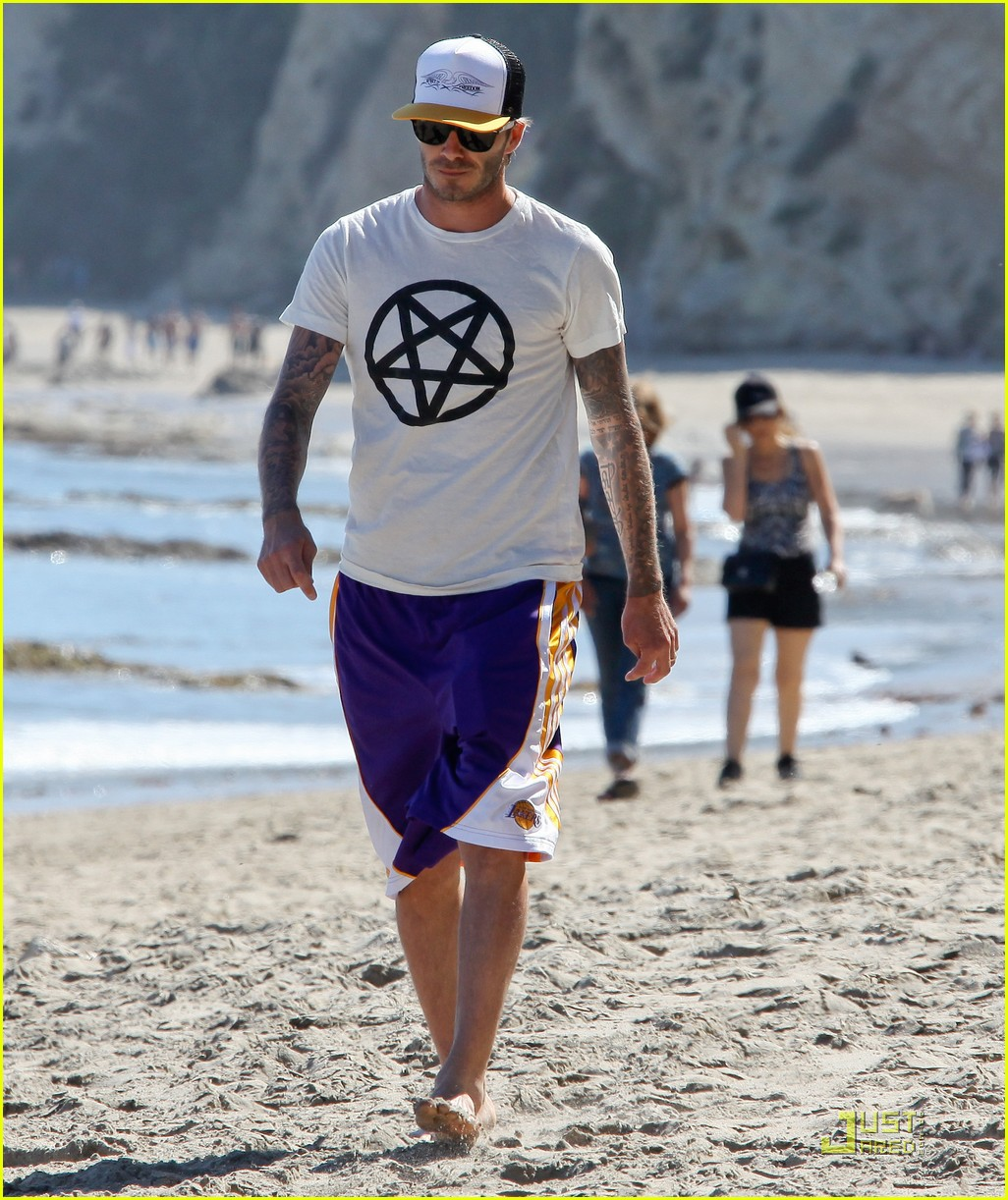 Full Sized Photo of david beckham malibu beach with romeo ... David Beckham