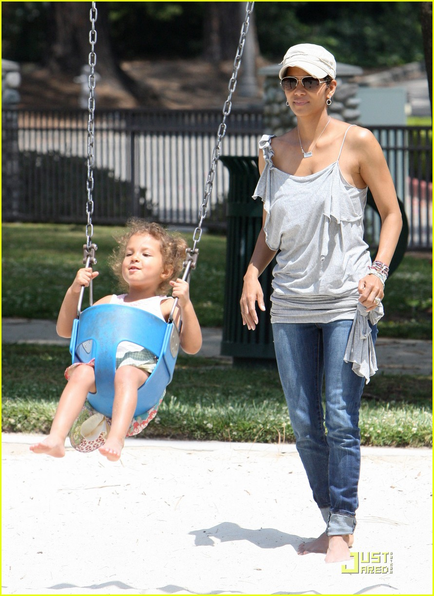 halle berry down the slide with nahla 08