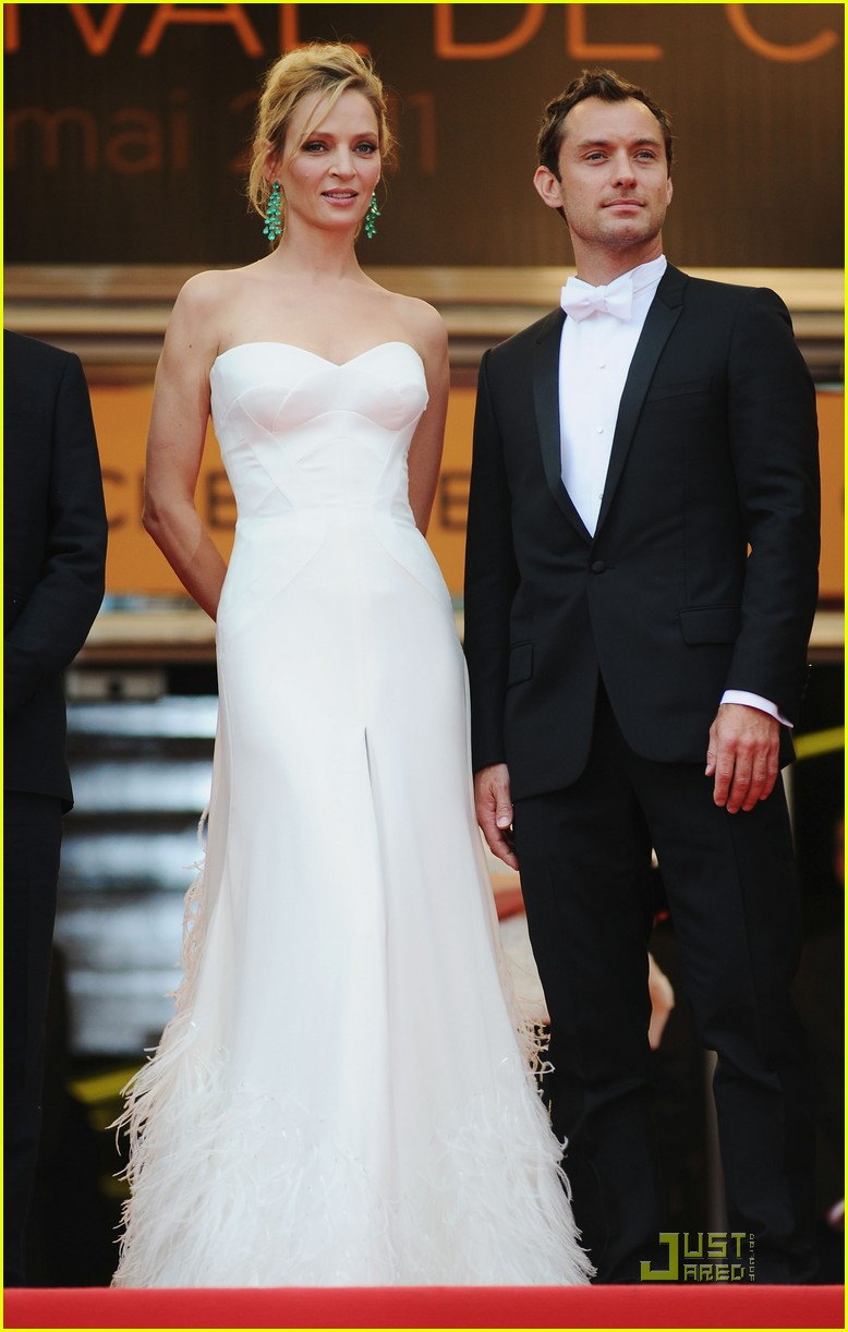 jude law cannes opening ceremony with uma thurman 06