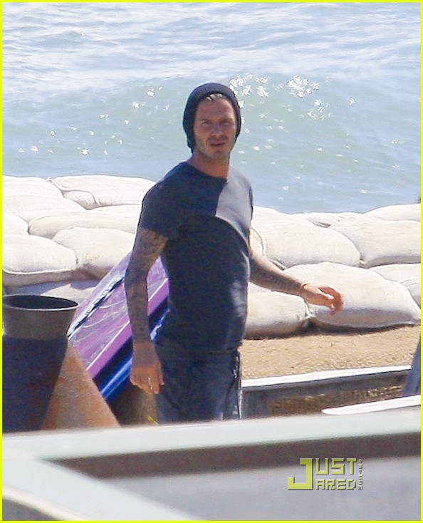 david beckham shirtless surfing  05