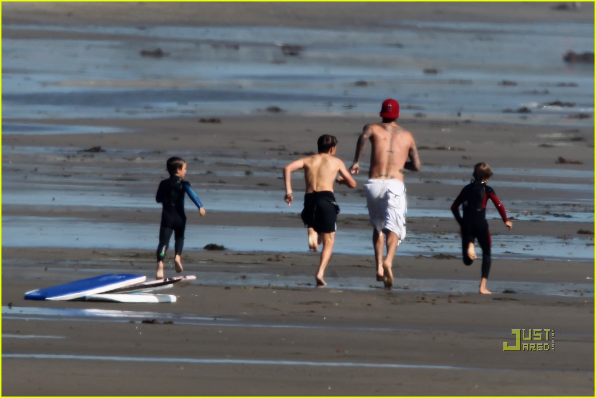 david beckham shirtless beach aug 30 08