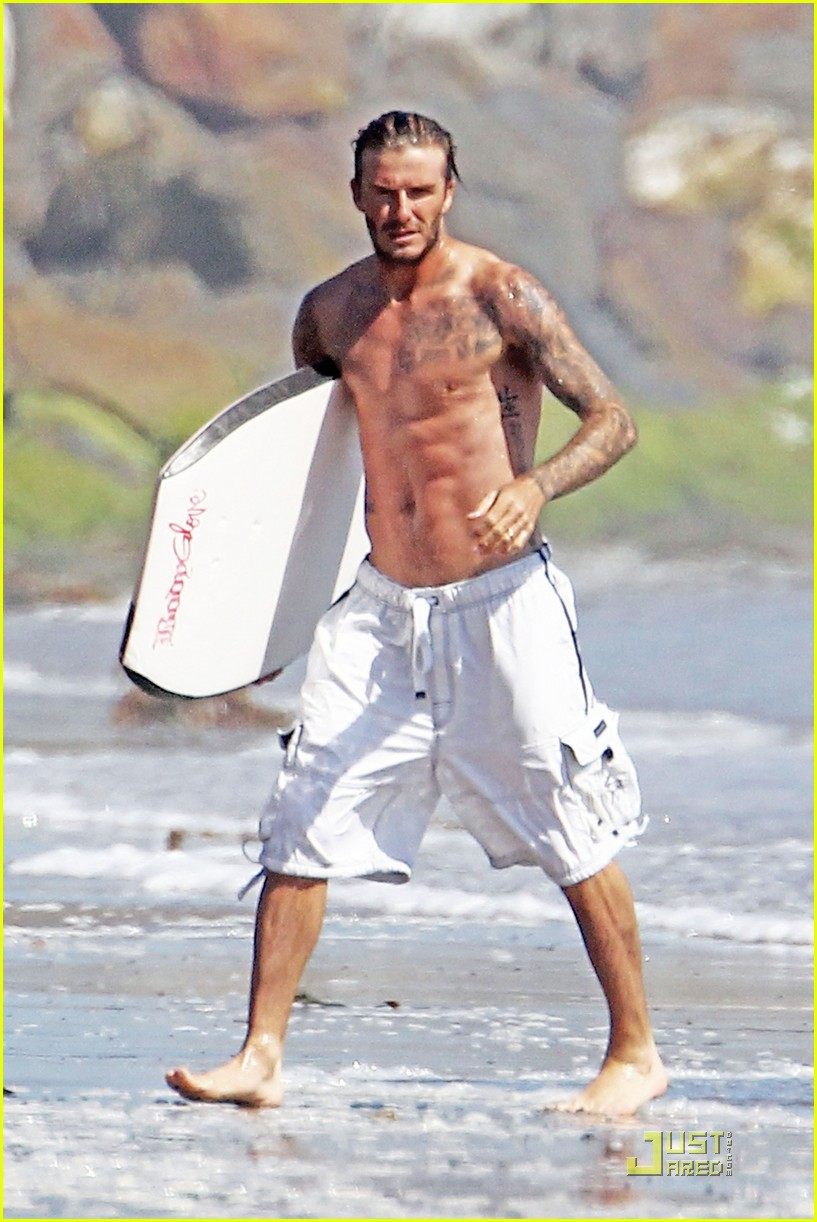 david beckham shirtless beach 12