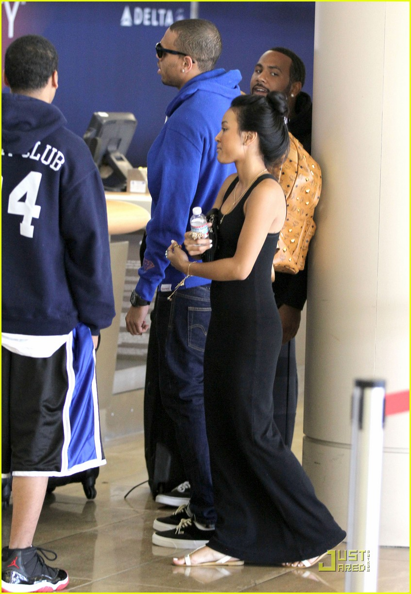 chris brown lax departure with karrueche tran 102568788