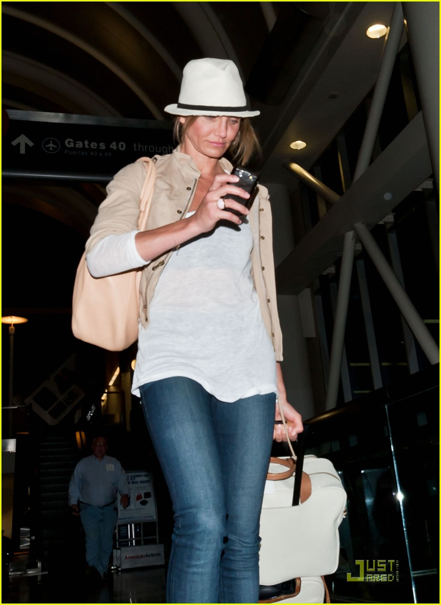 cameron diaz walks and talks at lax 02