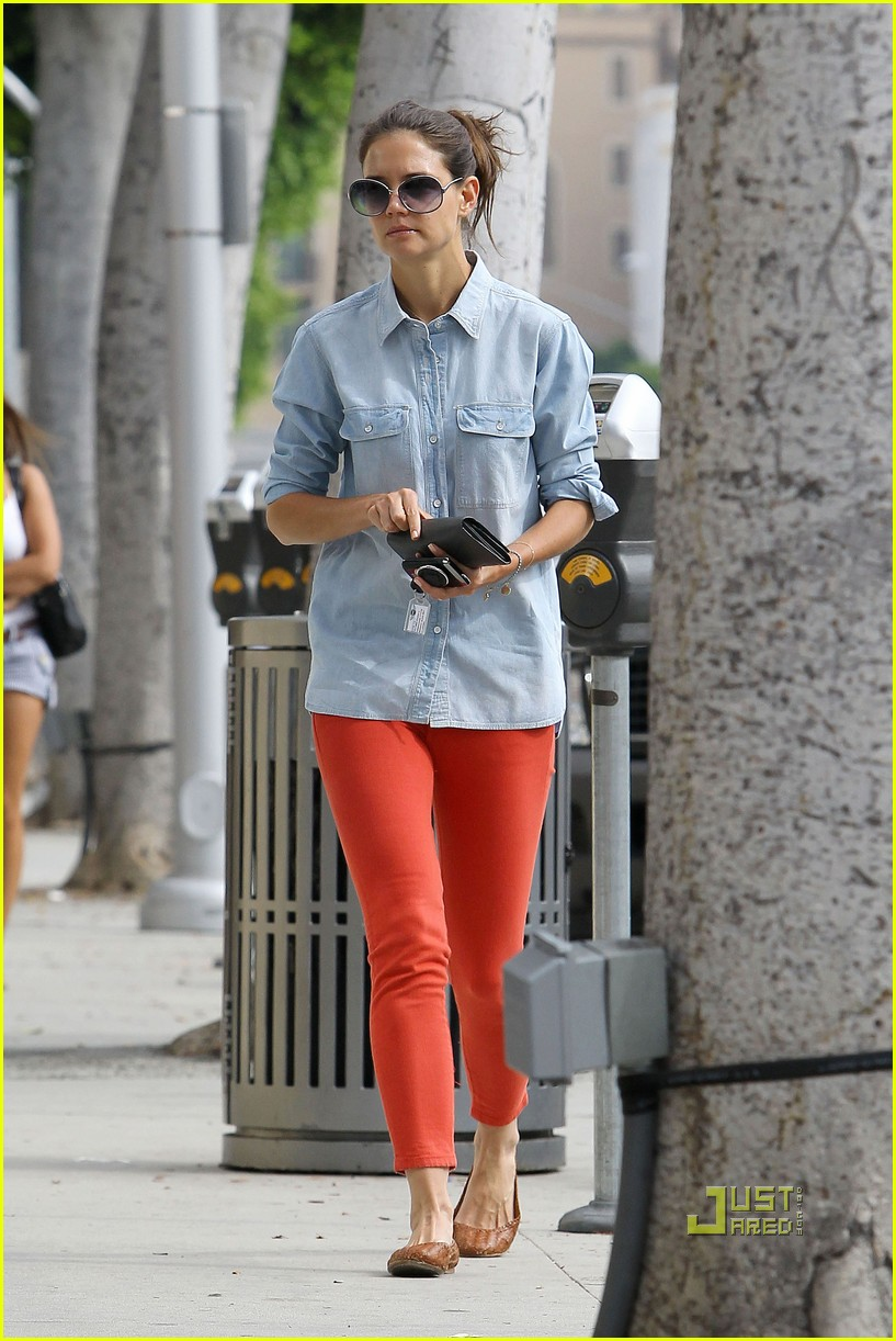 katie holmes orange pants 142572423