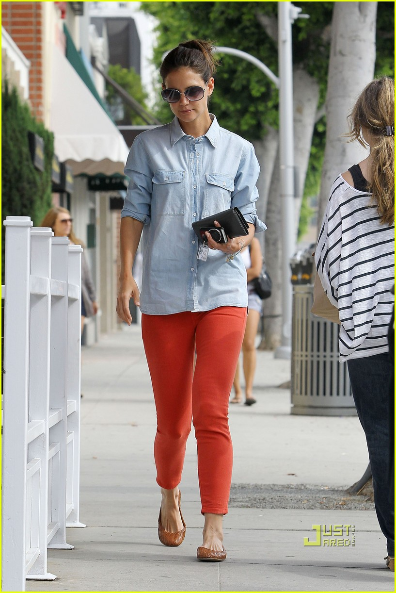 katie holmes orange pants 182572427