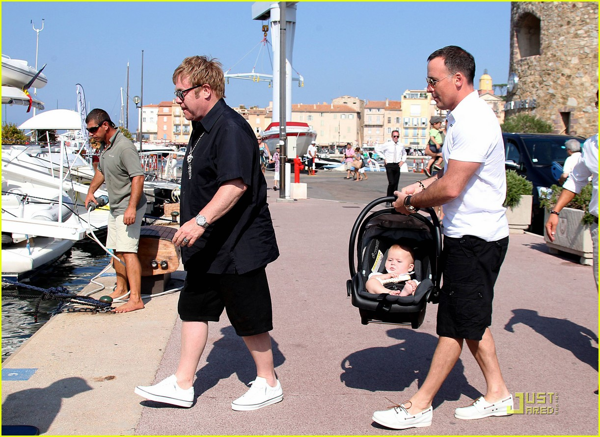 elton john david furnish st tropez with baby zachary 20