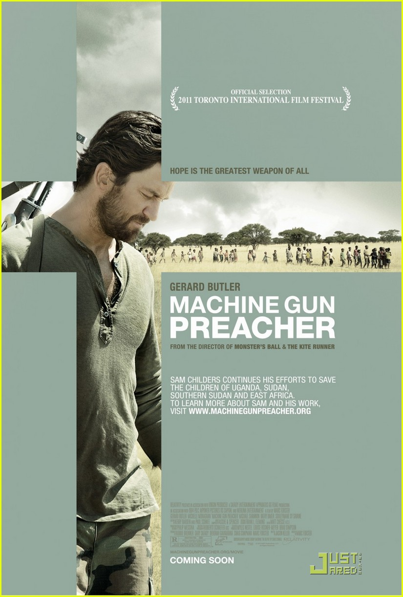 gerard butler tears up talking machine gun preacher