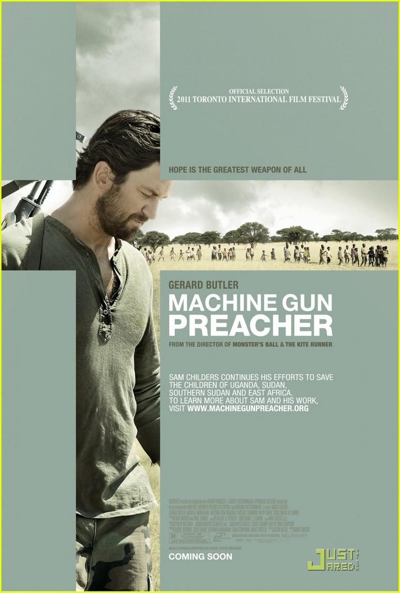 gerard butler tears up talking machine gun preacher