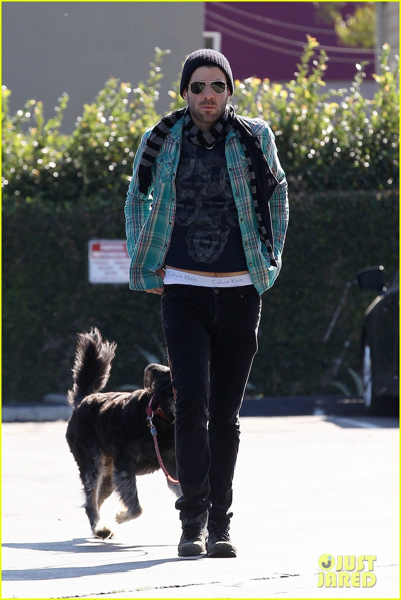 zachary quinto walks dog 06