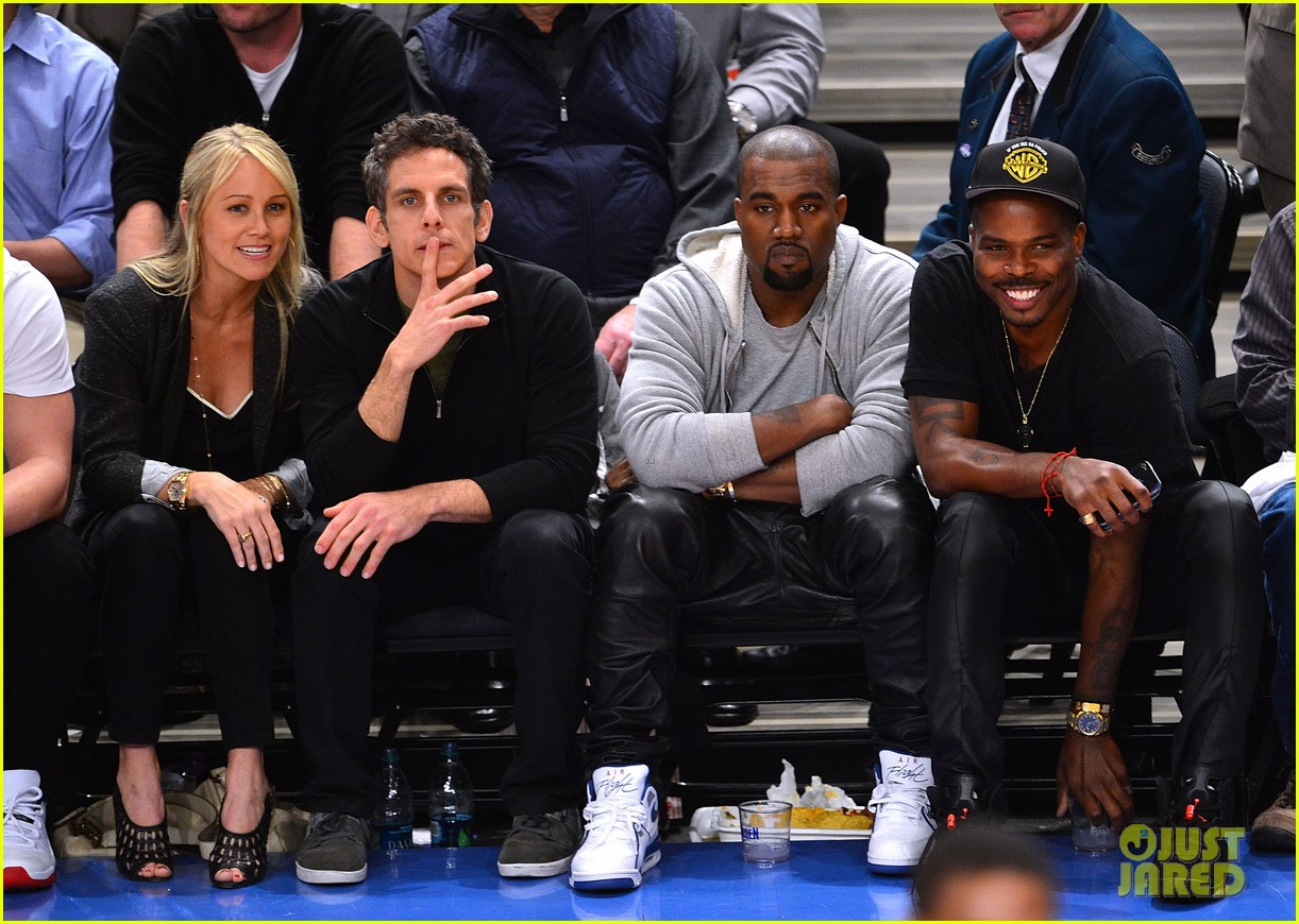 kanye west knicks playoff game with ben stiller 032656976