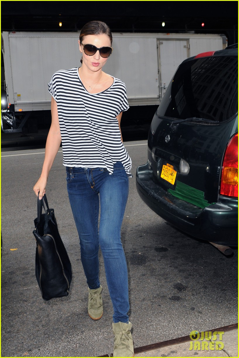 miranda kerr heads out striped shirt 03