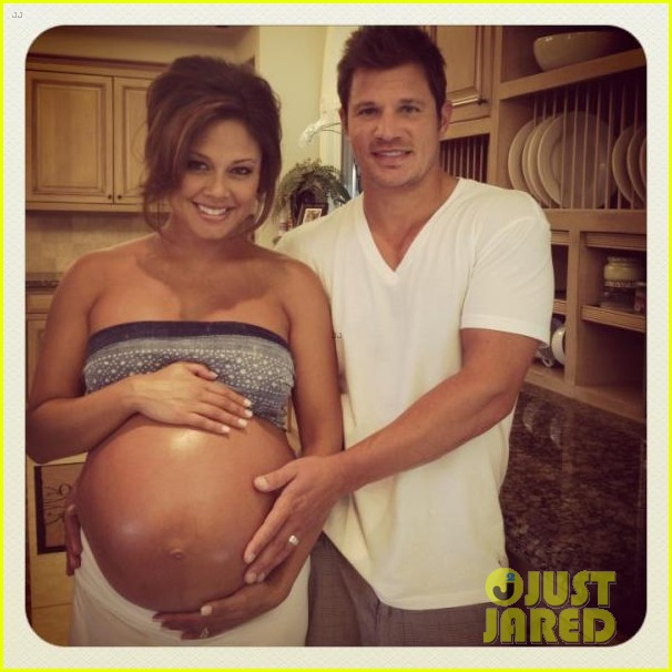 vanessa lachey shows off bare baby bump