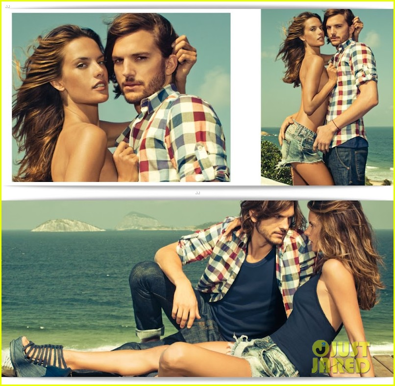 ashton kutcher topless alessandra ambrosio colcci campaign 012698924