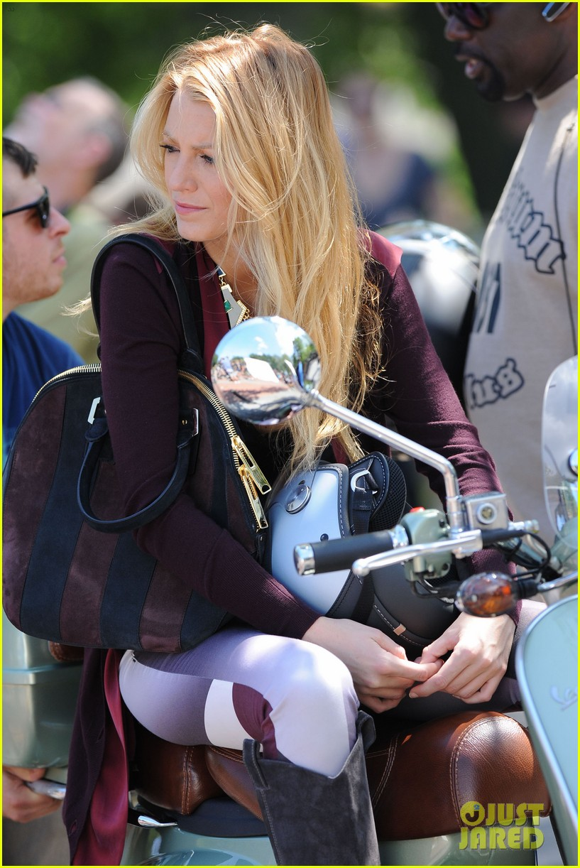 blake lively penn badgley vespa riders for gossip girl 182709881