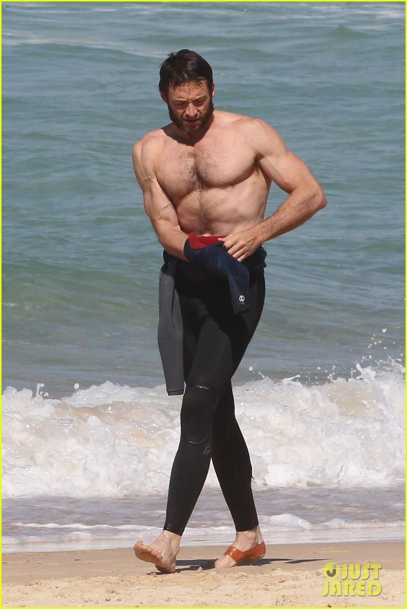 Full Sized Photo Of Hugh Jackman Shirtless At Bondi Beach 46 Photo 2726500 Just Jared