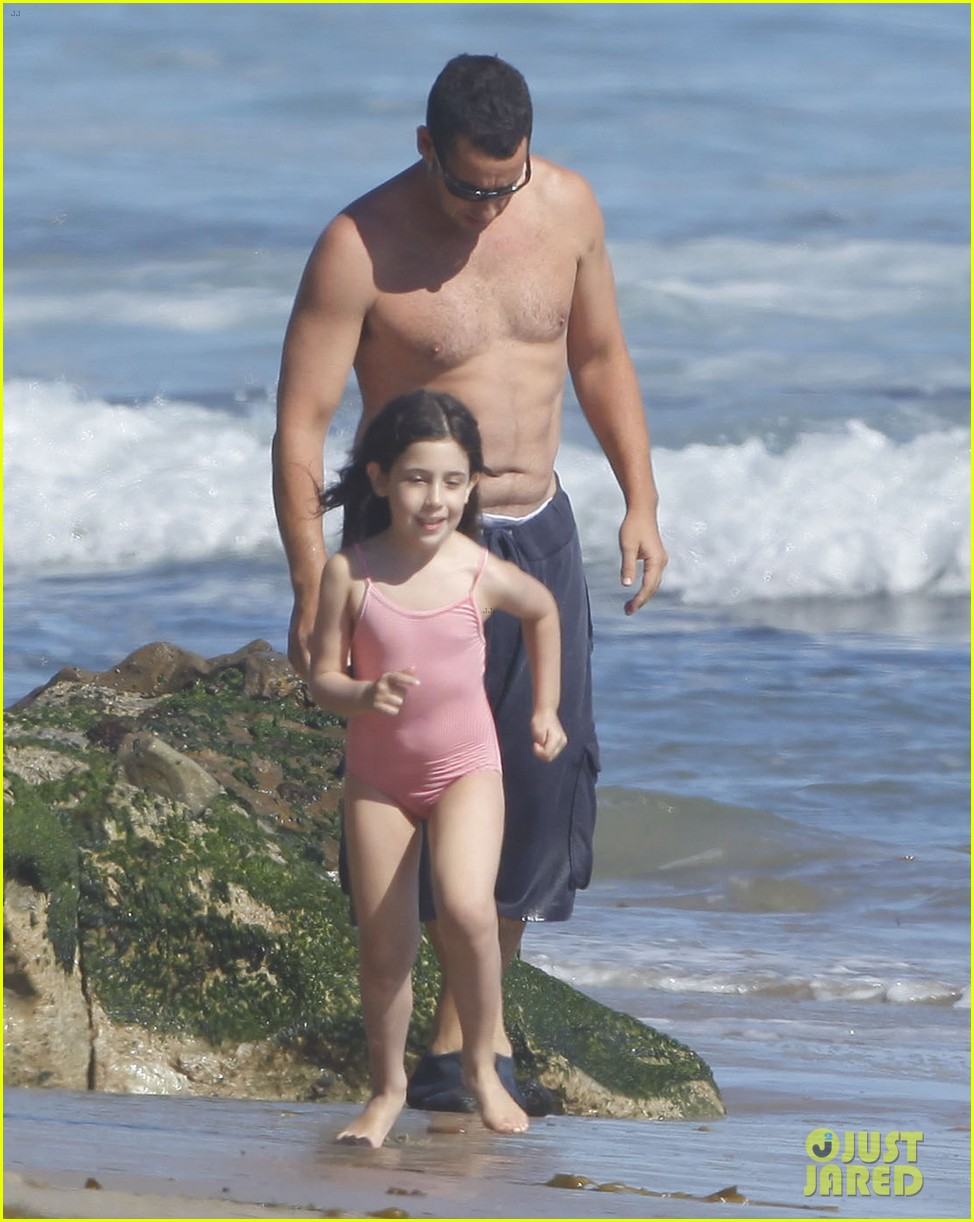 adam sandler shirtless beach time with sadie sunny 40