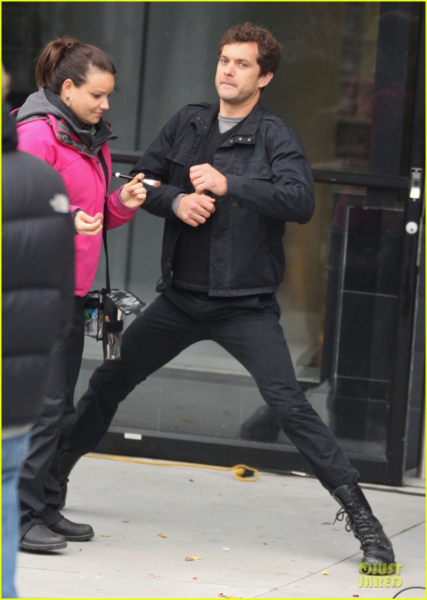 joshua jackson streches on fringe set 25