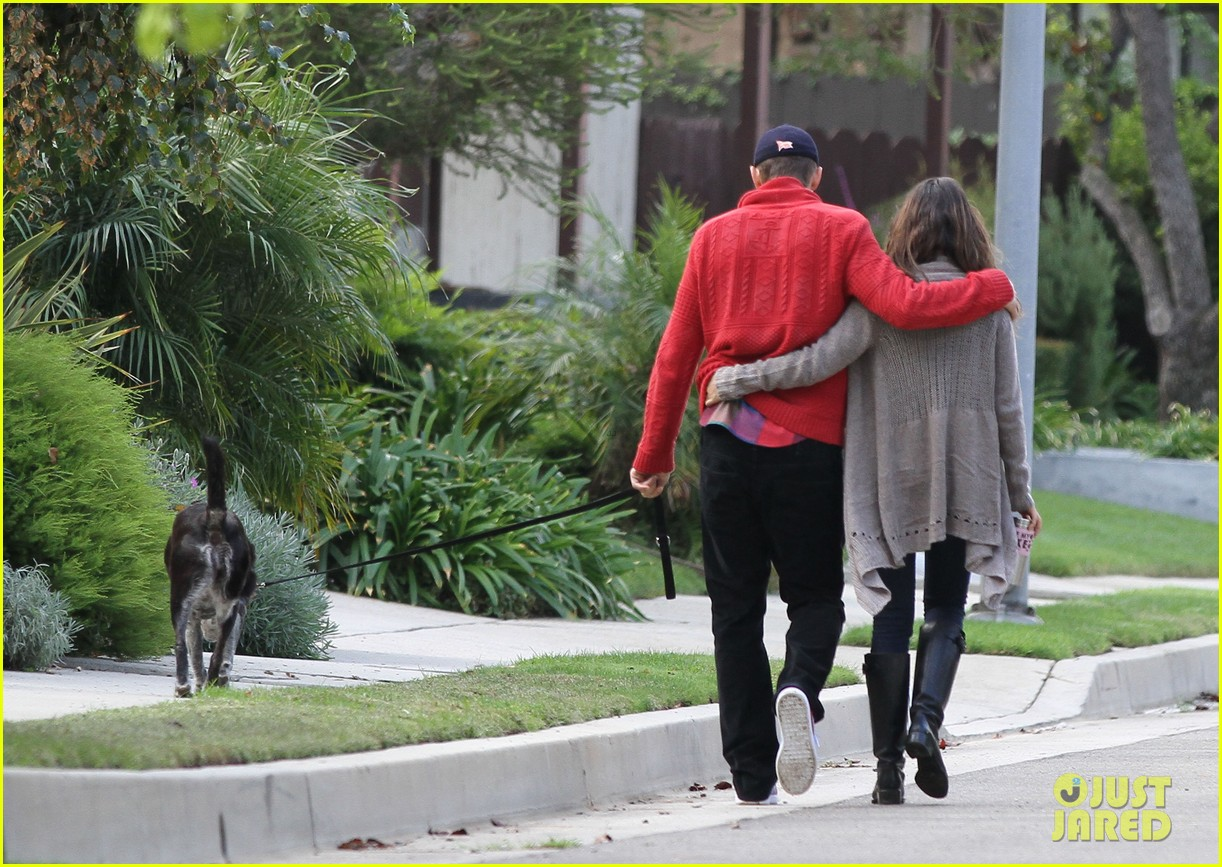 ashton kutcher mila kunis monday morning dog walk 202742742