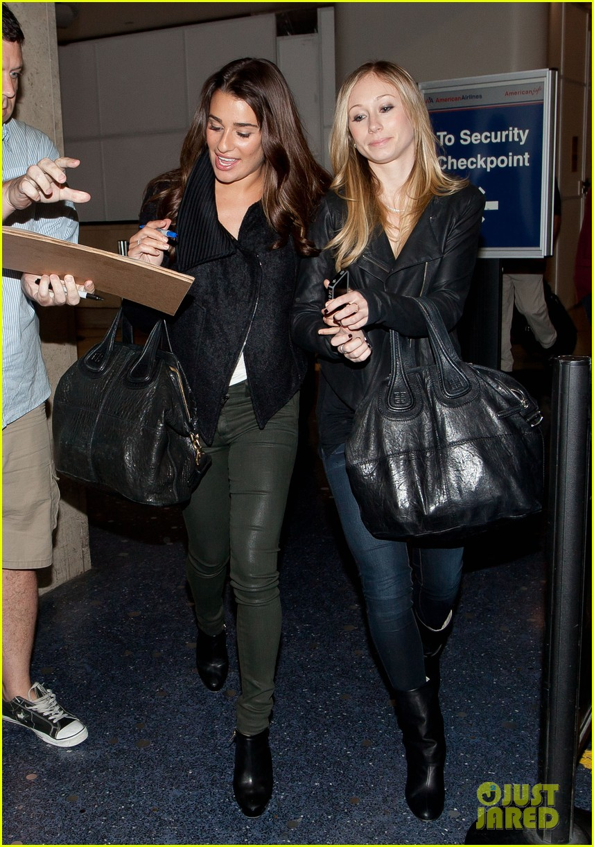 lea michele late night airport arrival 032735051