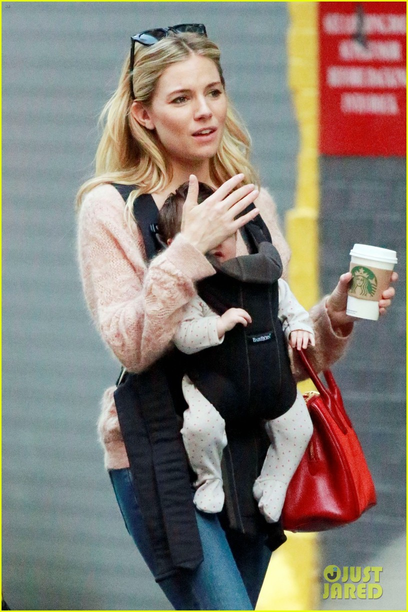 sienna miller coffee run with baby marlowe 022736270