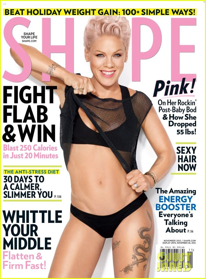 pink bares bikini body for shape magazine