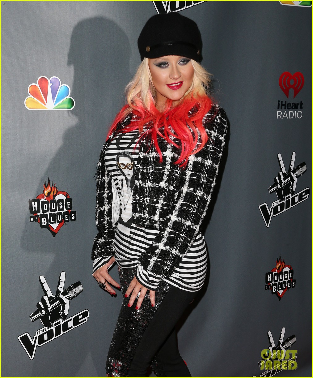 christina aguilera the voice final 12 party with adam levine 112754160