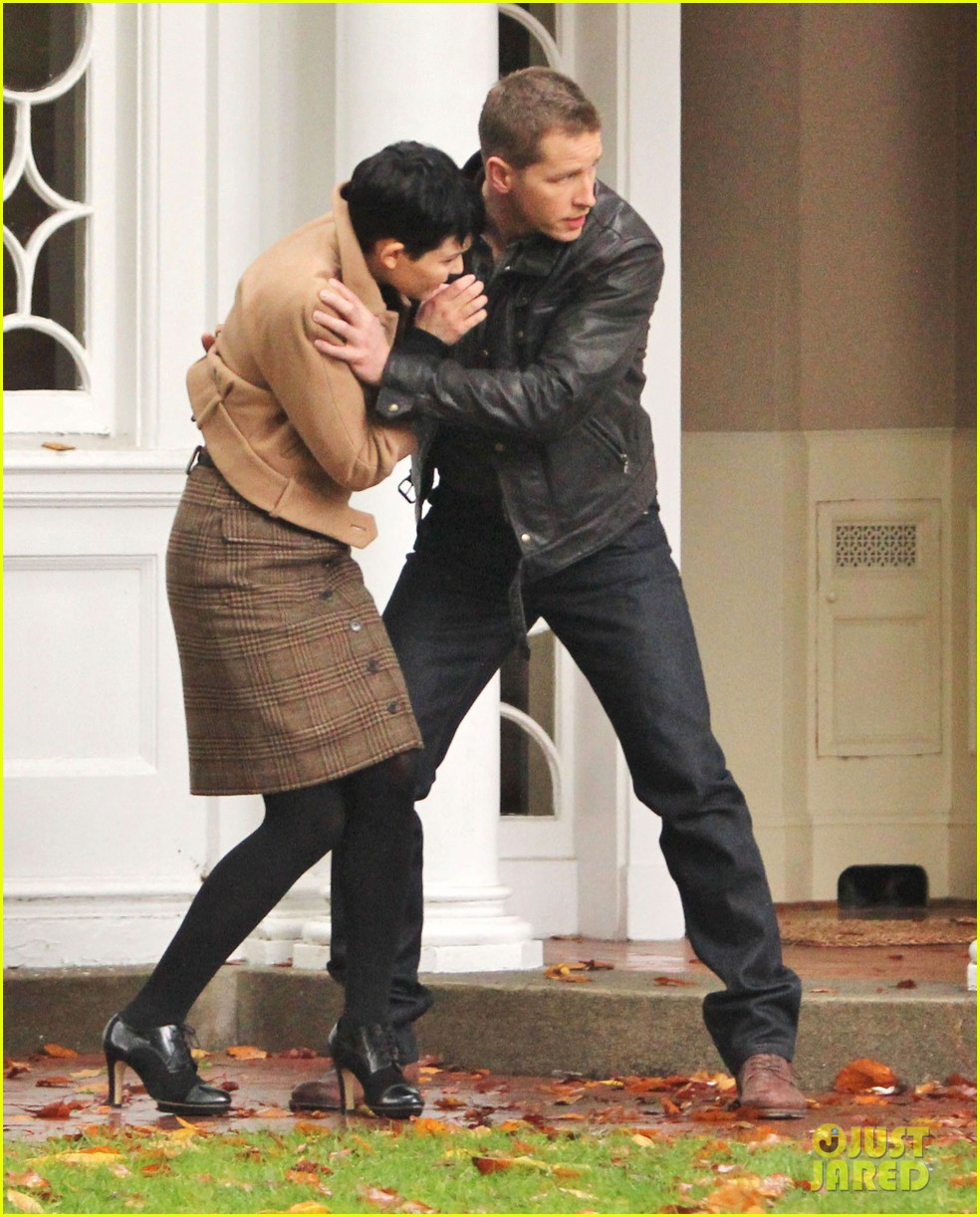 josh dallas protects ginnifer goodwin on once upon a time set 05