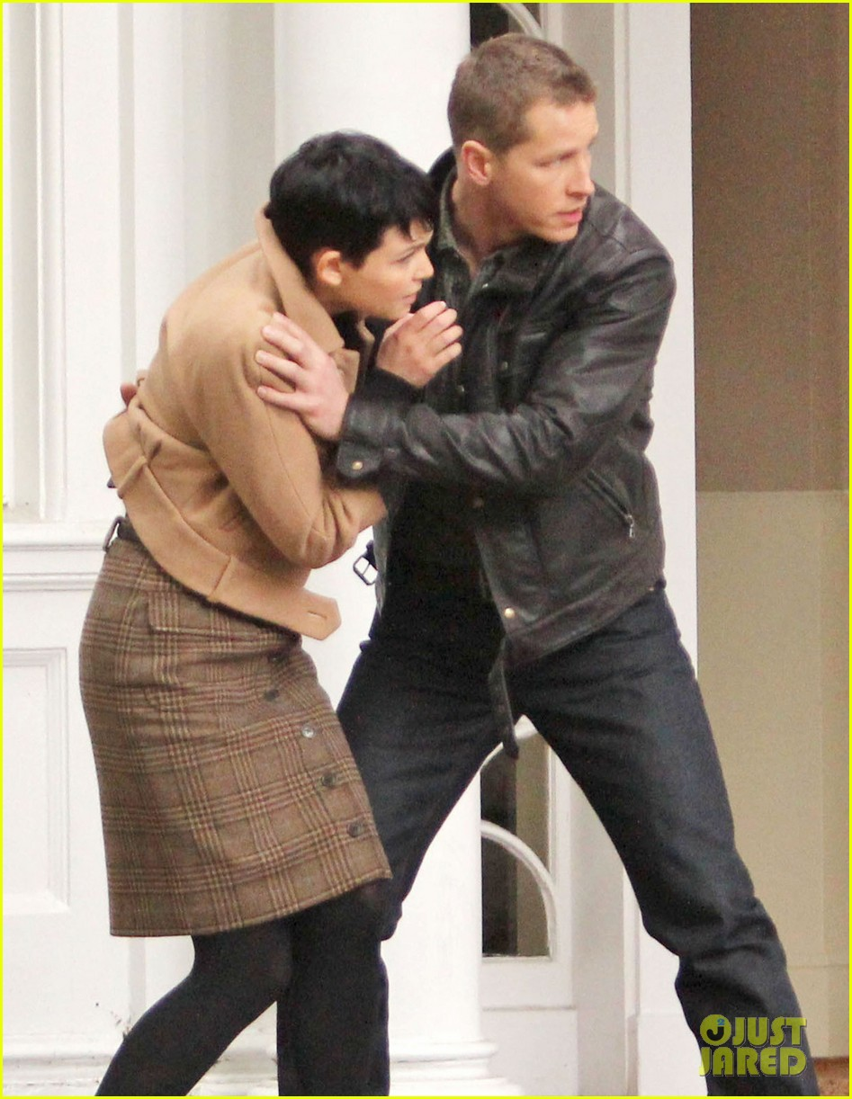 josh dallas protects ginnifer goodwin on once upon a time set 06