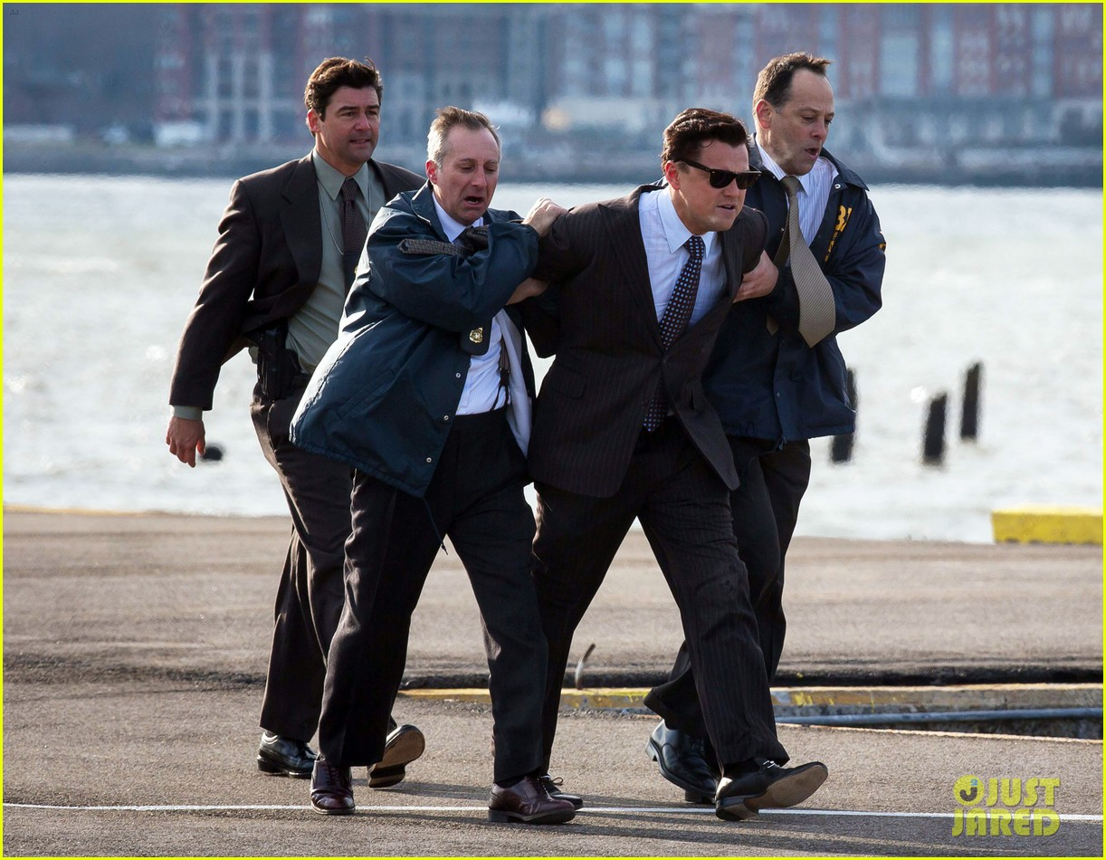 leonardo dicaprio arrested on wolf of wall street set 252765461