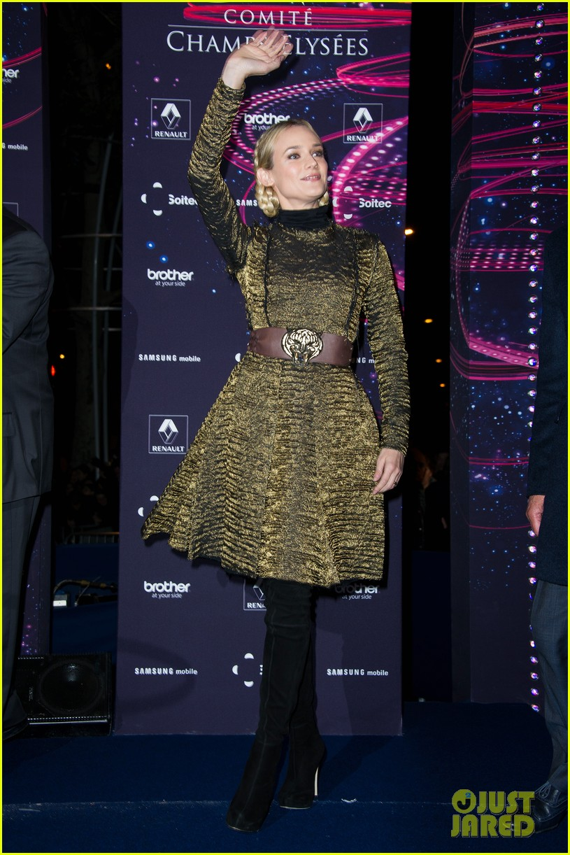 diane kruger champs elysees christmas lights launch 04