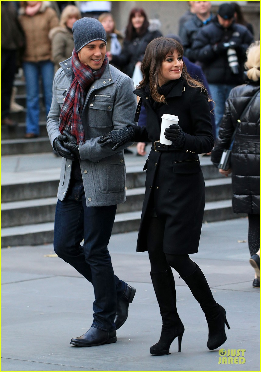 lea michele chris colfer photo moment on glee set 01