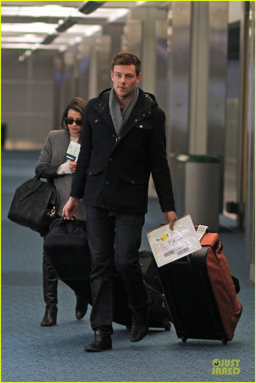 lea michele cory monteith vancouver departing couple 06