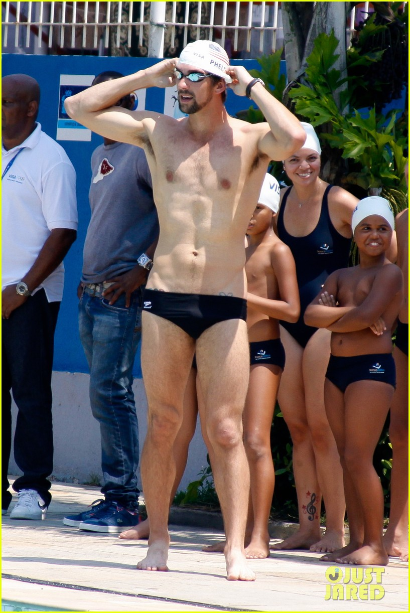 michael phelps shirtless speedo swim class in brazil 012749440