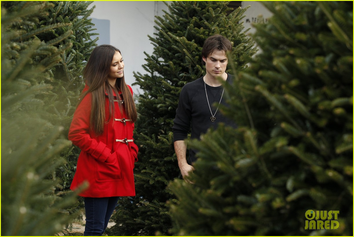 nina dobrev ian somerhalder christmas tree shopping 052769628