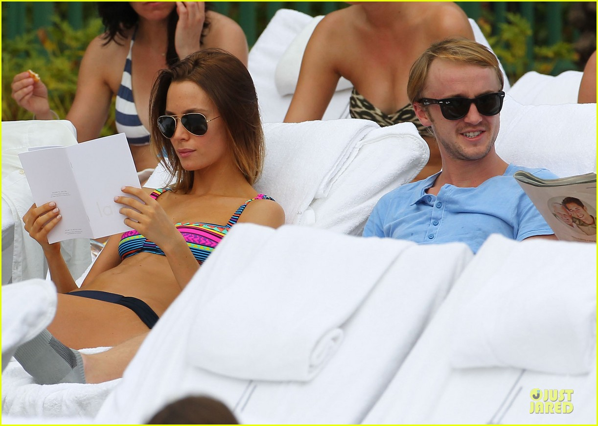 tom felton poolside with jade olivia 172782153
