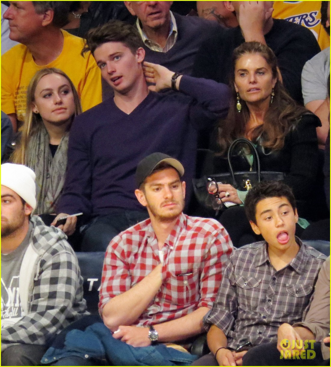 andrew garfield patrick schwarzenegger lakers guys 072773336