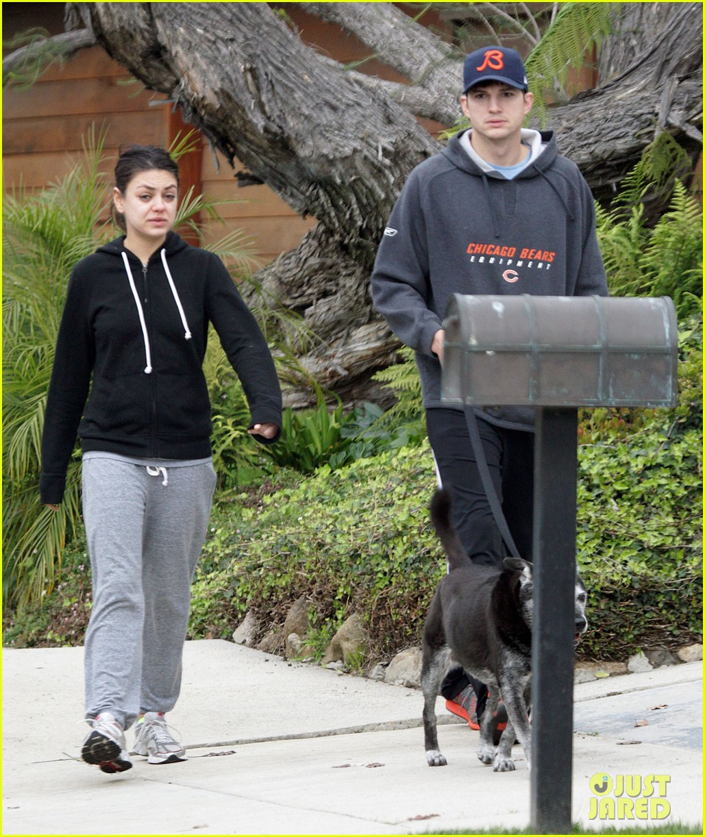 mila kunis ashton kutcher dog walk 15